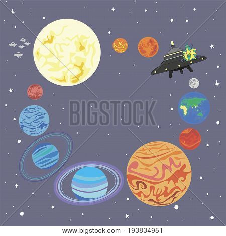 Solar system and a funny alien on a flying saucer isolated. Frame planet solar system in a circle and a cute alien starship. Vector illustration design background space star planet and watching UFO.