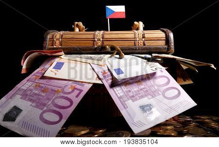 Czech Flag On Top Of Crate Full Of Money