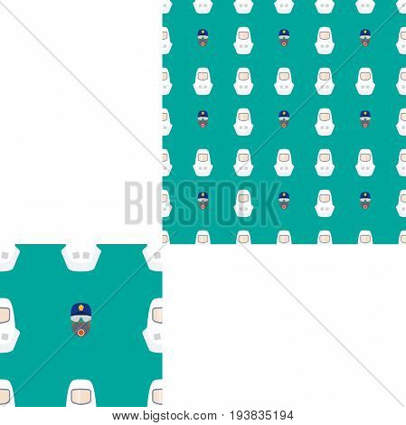 Seamless pattern of Rescue and fire with respiratory mask glasses police cap and white helmets on the turquoise background with pattern unit.