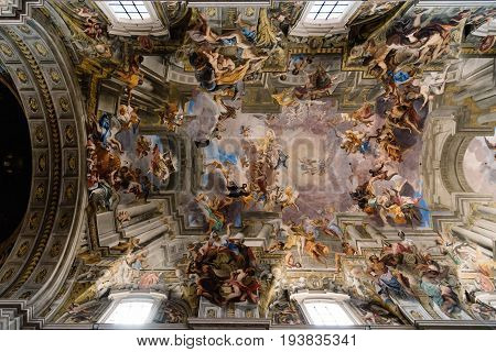 Rome Italy - August 18 2016: Interior view of church of St. Ignatius of Loyola. It is a Roman Catholic titular church dedicated to Ignatius of Loyola the founder of the Society of Jesus. Built in Baroque style