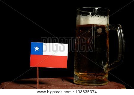 Chilean Flag With Beer Mug Isolated On Black Background