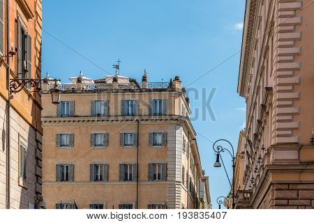 Rome Italy - August 18 2016: Low angle view of old buildings in historical centre of Rome a sunny summer day. Piazza di Minerva near Panteon