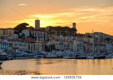 Old City And Harbor In Cannes
