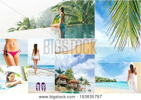 Vacation and holidays collage. Rest on a beach, traveling and spa concept collection.