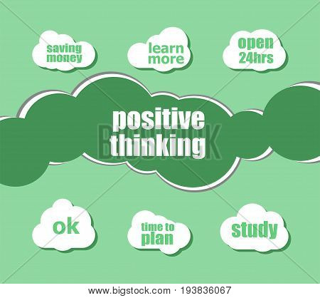 Text Positive Thinking. Education Concept . Word Lettering Typography With Line Icons And Tag Cloud