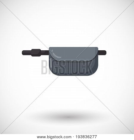 Waist bag vector flat icon flat design of travel hobby and adventure object with round shadow isolated on the white background vector illustration