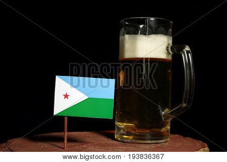 Djibouti Flag With Beer Mug Isolated On Black Background
