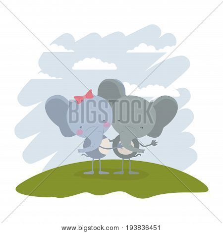 color scene sky landscape and grass with couple of elephants embraced vector illustration