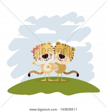 color scene sky landscape and grass with couple of tigers embraced vector illustration