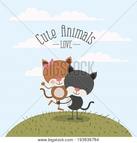 color scene sky landscape and grass with couple of cats one carrying the other cute animals love vector illustration