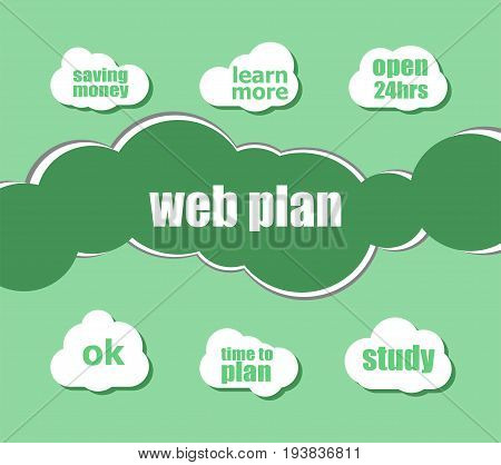 Words Web Plan. Business Concept . Infographic Business For Graphic Or Web Design Layout