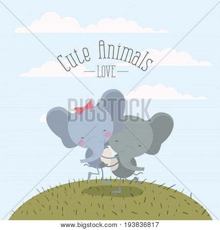 color scene sky landscape and grass with couple of elephants one carrying the other cute animals love vector illustration