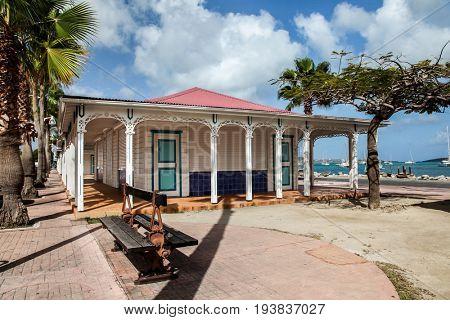 MARIGOT - JULY 31: Fish market area with water side in Marigot, seen in Marigot , St.Maarten on July 31, 2015
