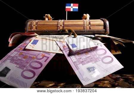Dominican Republic Flag On Top Of Crate Full Of Money