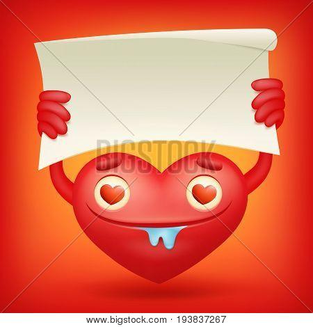 Lovely red heart cartoon character holding banner Vector illustration