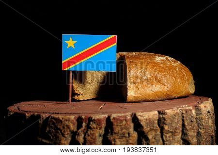 Democratic Republic Of The Congo Flag On A Stump With Bread Isolated