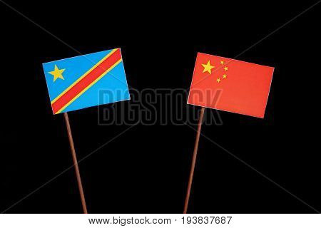 Democratic Republic Of The Congo Flag With Chinese Flag Isolated On Black Background