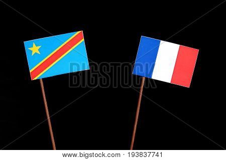 Democratic Republic Of The Congo Flag With French Flag Isolated On Black Background