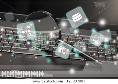 Surveillance security magnifying glass security system white collar crime computer internet