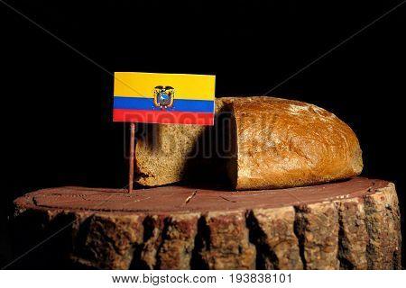 Ecuador Flag On A Stump With Bread Isolated
