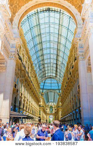 Milan, Italy - June, 19, 2017: interior of Galleria Vittorio Emanuele in Milan, Italy