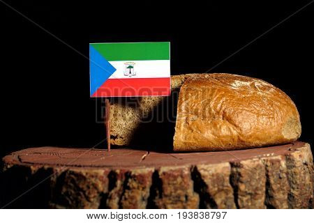 Equatorial Guinea Flag On A Stump With Bread Isolated