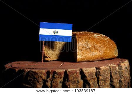 El Salvador Flag On A Stump With Bread Isolated