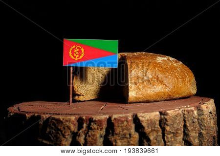 Eritrean Flag On A Stump With Bread Isolated