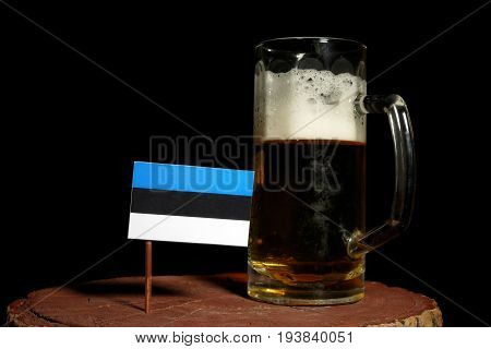 Estonian Flag With Beer Mug Isolated On Black Background
