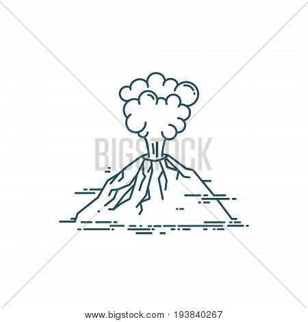 Volcano exploding. Vector linear illustration isolated on white background