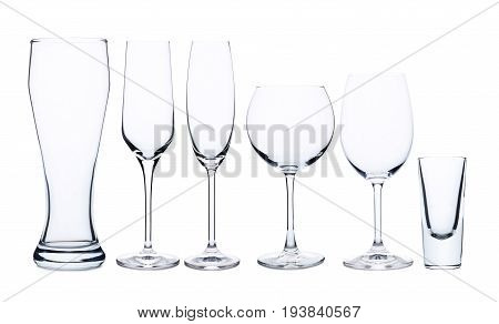 Collage of empty glass on white background