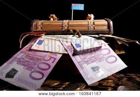 Fijian Flag On Top Of Crate Full Of Money