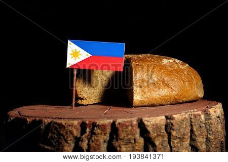 Philippines Flag On A Stump With Bread Isolated
