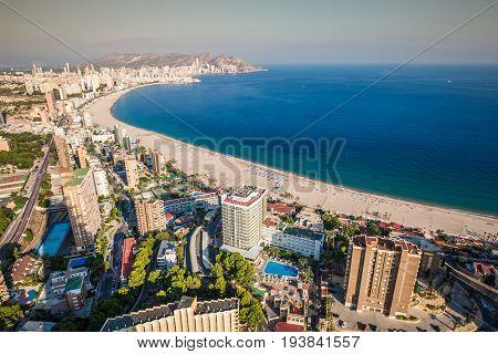 Benidorm levante beach aerial view in alicante Spain