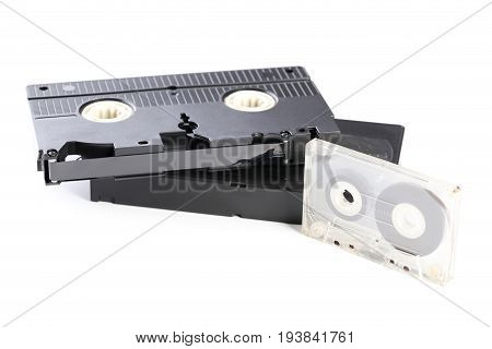 Video And Music Cassette Tapes Isolated On White Background