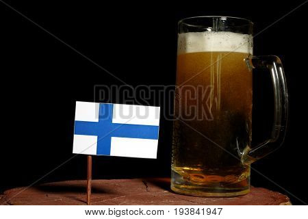 Finnish Flag With Beer Mug Isolated On Black Background