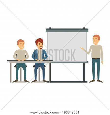 white background with pair of man sitting in a desk for executive lecturer in presentacion business people vector illustration