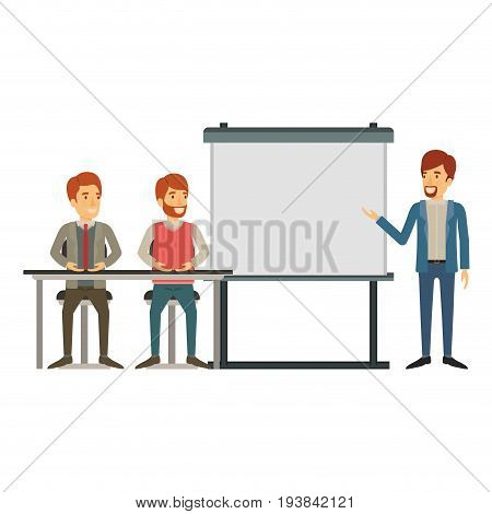 white background with couple of man sitting in a desk for executive orator in presentacion business people vector illustration