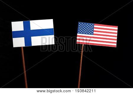 Finnish Flag With Usa Flag Isolated On Black Background