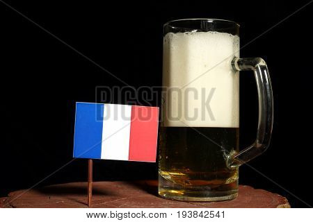 French Flag With Beer Mug Isolated On Black Background
