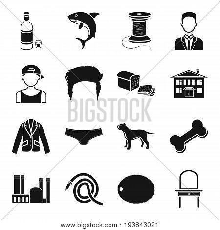 alcohol, atelier, appearance and other  icon in black style. architecture, food, clothing, furniture icons in set collection.