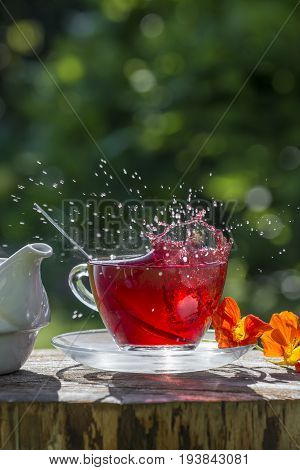 a cup of fruity tea - close up