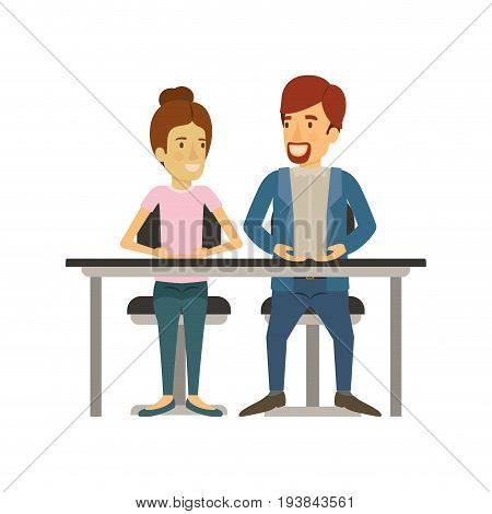 white background with teamwork of woman and man sitting in desk and her with collected hair and him in casual clothes with van dyke beard vector illustration
