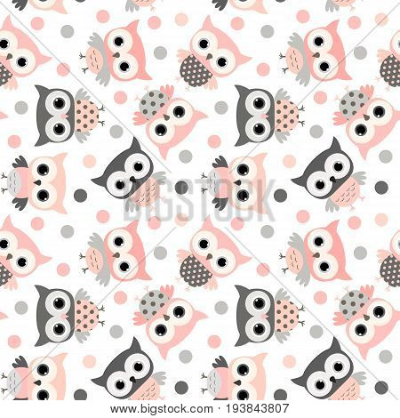 Cute pink and grey cartoon owls seamless pattern for kids and babies designs invitations and clothing