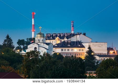 Grodno, Belarus. Orthodox Temple In The Name Of The Holy Monk Martha At Evening In Night Illuminations Lights. Blue Hour In Hrodna.