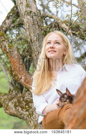 Young caucasian woman with small dog is sitting on the tree at summer sunny day