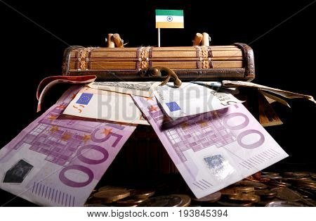 Indian Flag On Top Of Crate Full Of Money