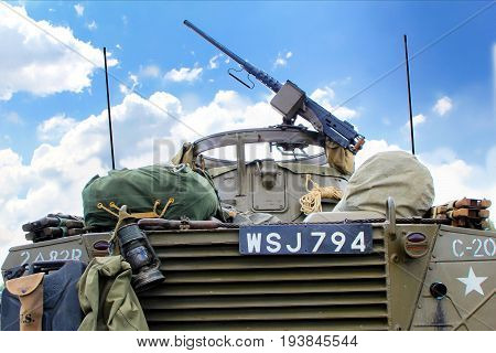 Sandhurst, Uk - June 18 2017: Light Machine Gun On A Vintage Us Army Armoured Car