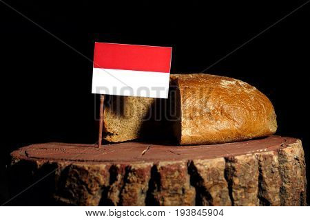 Indonesian Flag On A Stump With Bread Isolated