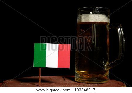 Italian Flag With Beer Mug Isolated On Black Background